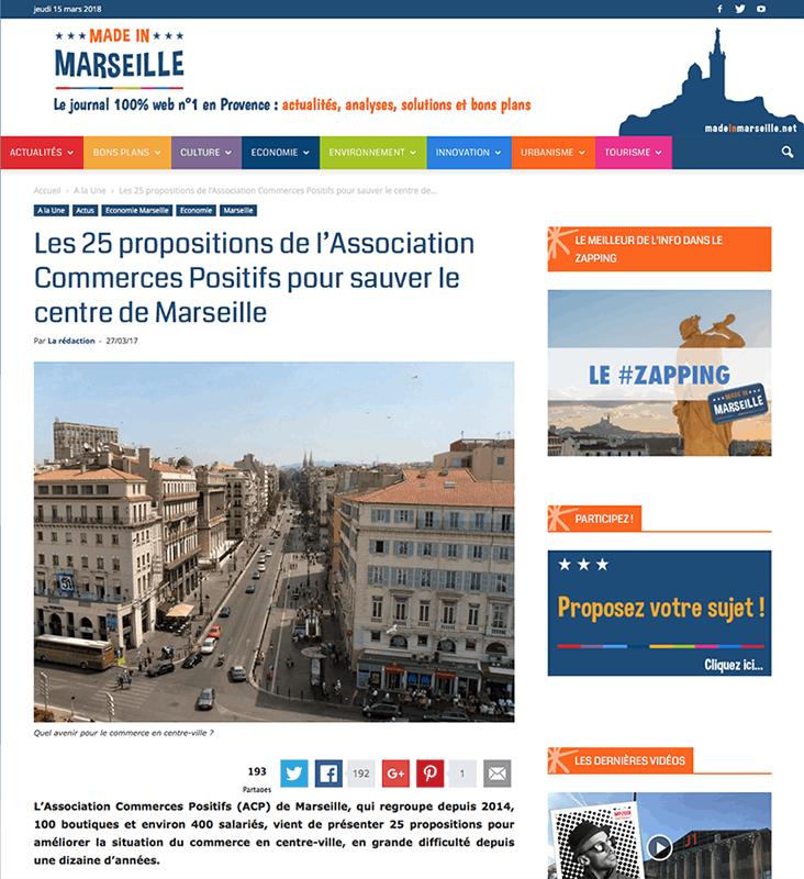 Post sur madeinmarseille.net 25 mars 2017, les 25 propositions de l'ACP pour sauver le centre ville de Marseille