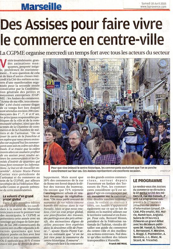 Article dans La Provence 18 avril 2015, Les Assises du commerce 2ème édition