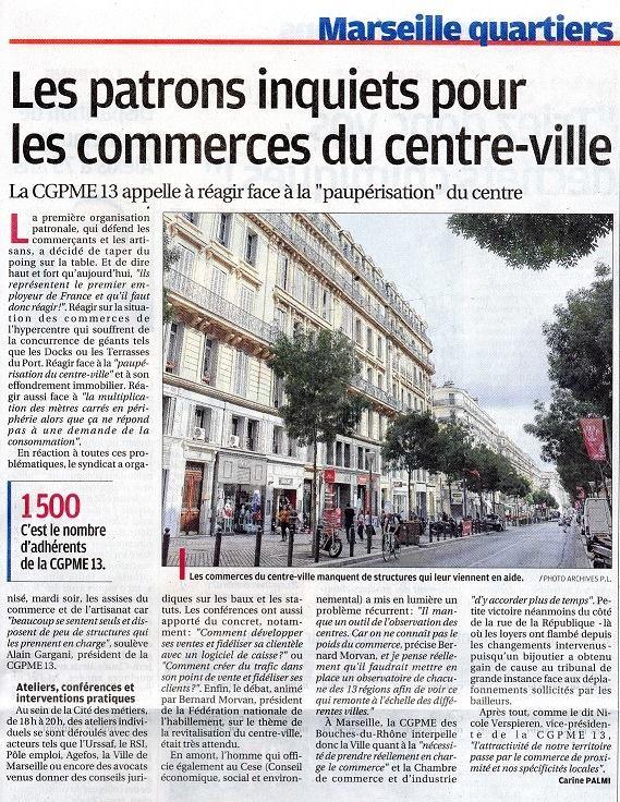 Article dans La Provence 22 septembre 2016, Les Assises du commerce 3ème édition