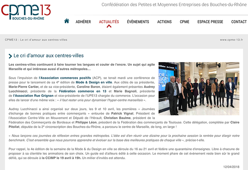 Article dans le site de la CPME13, 12 avril 2018