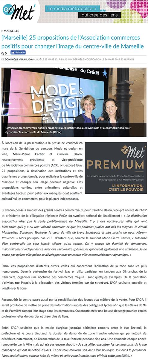 Article sur le site go-met.com, 25 propositions de l'ACP pour changer l'image du centre cille de Marseille