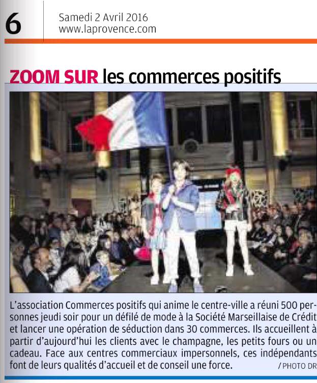 Article dans La Provence 2 avril 2016, défilé Mode et Design en ville 2ème édition
