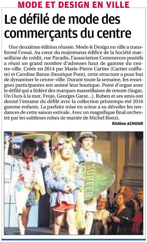 Article dans La Provence 3 avril 2016, défilé Mode et Design en ville 2ème édition