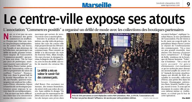 Article dans La Provence 6 novembre 2015, défilé Mode et Design en ville 1ère édition