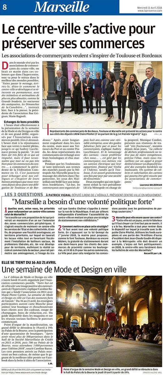 Article dans la Provence, Mode et Design en ville 4ème édition