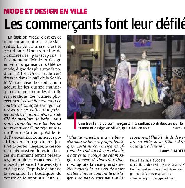 Article dans La Provence 31 mars 2016, défilé Mode et Design en ville 2ème édition