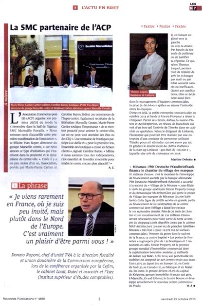 Article dans Les Nouvelles Publications 23 octobre 2015, Conférence de presse défilé Mode et Design en ville 1ère édition à la SMC