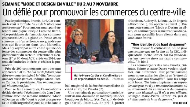 Article dans La Provence 16 octobre 2015, Conférence de presse défilé Mode et Design en ville 1ère édition