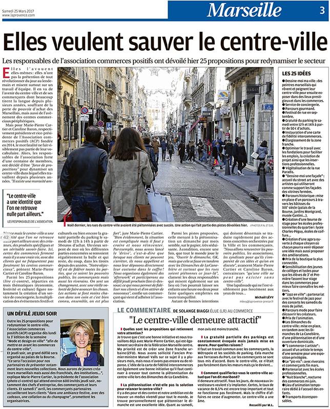 Article dans La Provence 25 mars 2017, défilé Mode et Design en ville 3ème édition, les 25 idées pour redynamiser le centre ville