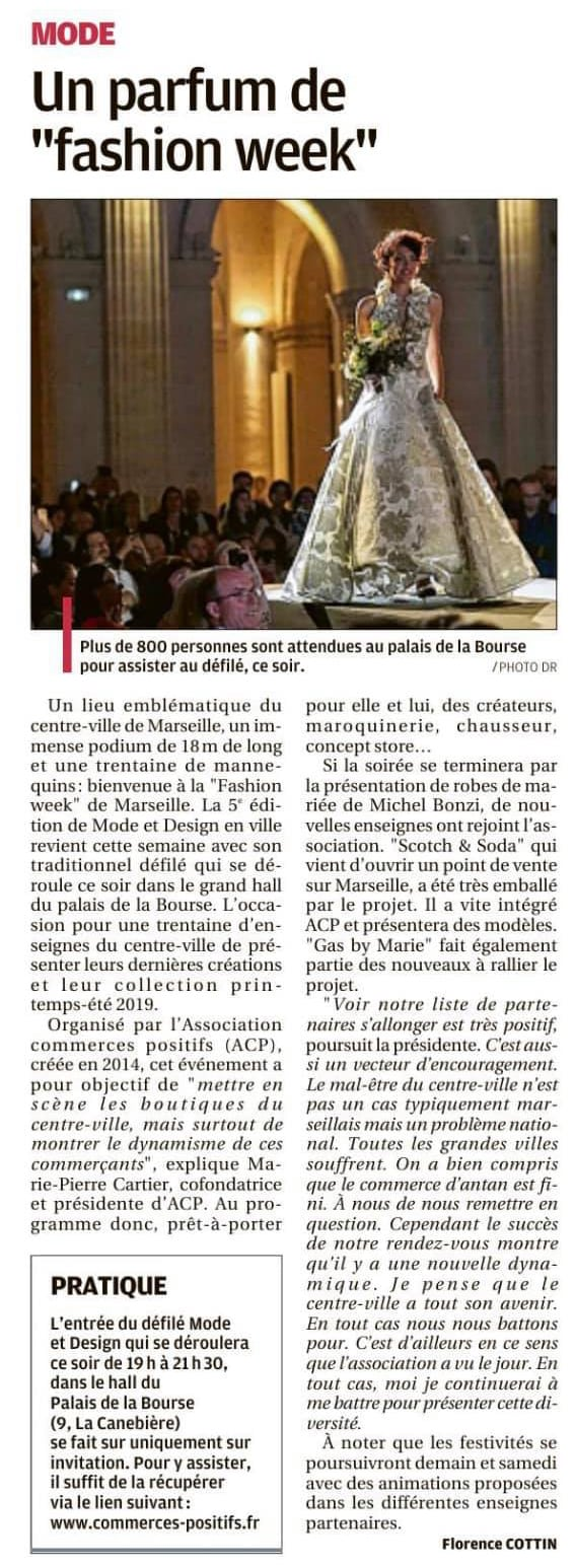 article La Provence 4 avril 2019 - défilé Mode & Design en ville